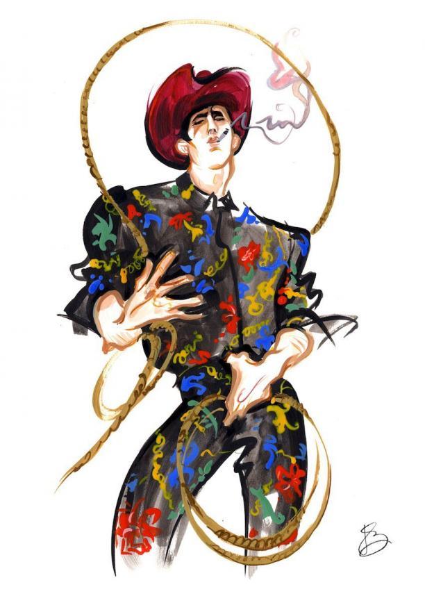 Illustratie van een man in cowboy kleding van Versace met lasso