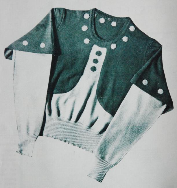 Tweekleurige gebreide wollen blouse uit 1933 met dubbele mouwen, versierd met noppen