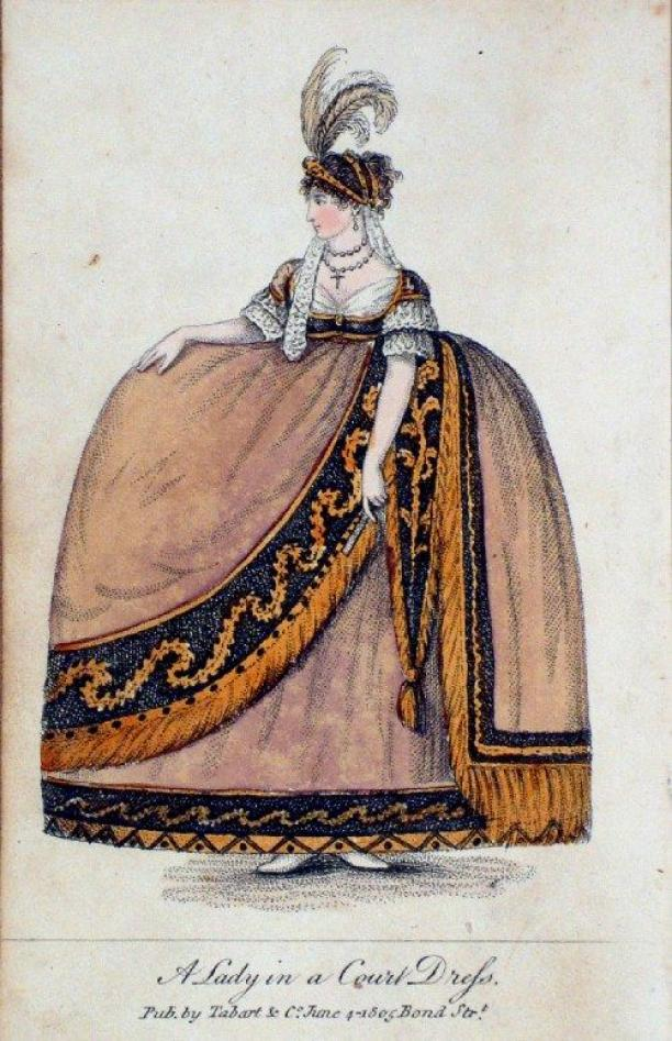 Modeprent uit 1805: A lady in court dress, Pub. by Tabart & Co. June, 1805, Bond Str.