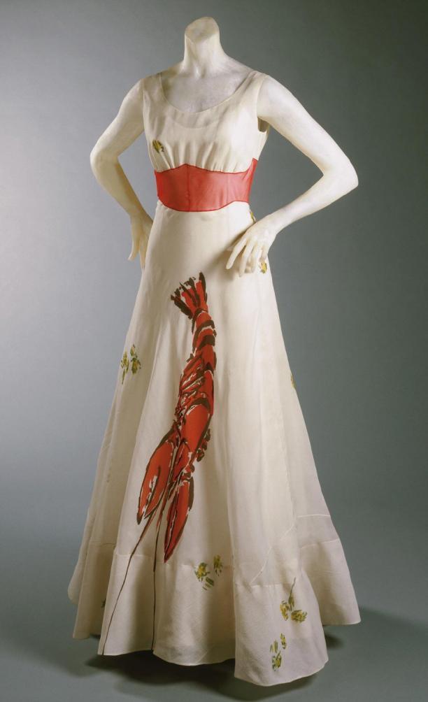 Jurk met 'lobster', Elsa Schiaparelli in samenwerking met Salvador Dalí, 1937. Collectie: Philadelphia Museum of Art.
