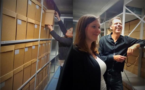 Gonneke Janssen en Hans van Keulen in het depot Bijzondere Collecties UvA. Foto's: Veronica Saenz.