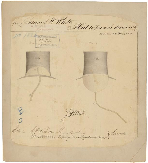 Samuel W. White, Hat to prevent drowning, 1840.