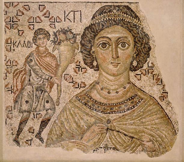 Fragment van een vloermozaïek met de personificatie van Ktisis, ca. 500-550, collectie Metropolitan Museum of Art.