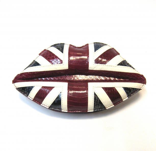 Lulu Guinness, Union Jack Snakeskin Lips Clutch, Engeland, 2012, collectie Tassenmuseum Hendrikje.