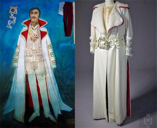 Nicolaas Wijnberg, kostuumontwerp voor Othello (gespeeld door André van den Heuvel) en het uitgevoerde kostuum (jas) , 1971, collectie Theatercollectie Bijzondere Collecties UvA.