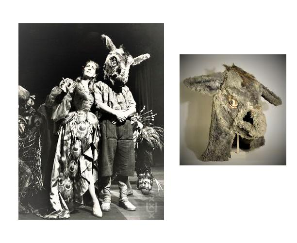 Links: acteurs Ellen Vogel en Ko van Dijk in Shakespeare's 'Midzomernachtsdroom'. Rechts: ezelmasker voor Ko van Dijk, ontwerp Nicolaas Wijnberg, collectie Theatercollectie Bijzondere Collecties UvA.