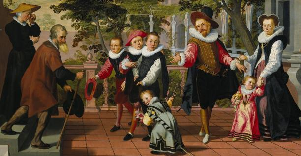 A. Pietersz., Rijke kinderen, arme ouders, detail, 1599, SK-A-4822