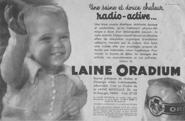 Advertentie Laine Oradium, radioactieve mode uit het museum, Amsterdam Museum geschreven door Marit Eisses voor Modemuze. Marie Curie, radium, 20e eeuw,  reclamemateriaal voor radioactieve producten, mode, radioactieve mode