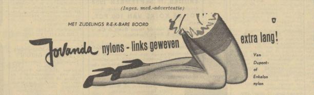 Advertentie voor nylonkousen, Algemeen Handelsblad 12 september 1952.