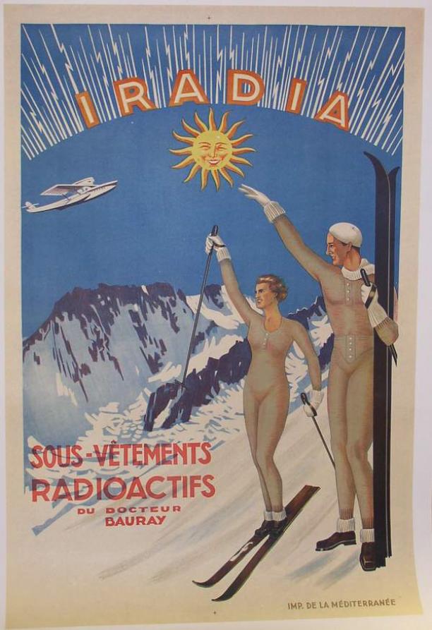 Advertentie voor onderkleding Iradia, radioactieve mode uit het museum, Amsterdam Museum geschreven door Marit Eisses voor Modemuze. Marie Curie, radium, 20e eeuw,  reclamemateriaal voor radioactieve producten, mode, radioactieve mode