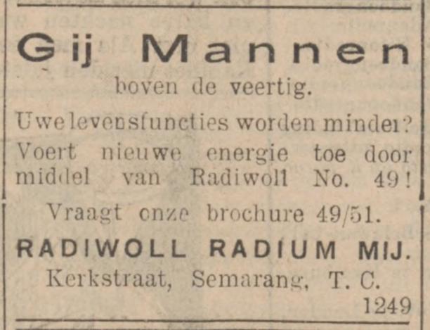 Advertentie voor Radiwoll, 1934, radioactieve mode uit het museum, Amsterdam Museum geschreven door Marit Eisses voor Modemuze. Marie Curie, radium, 20e eeuw,  reclamemateriaal voor radioactieve producten, mode, radioactieve mode