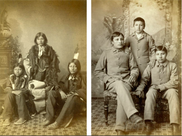 Drie Sioux-studenten toen ze in 1883 aankwamen op de Carlisle Indian School (links) en dezelfde jongens 3 jaar later (foto's : Cumberland County Historical Society, Carlisle, V.S.)