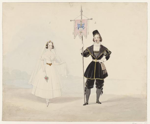 Afb. 2 Huib van Hove, man en vrouw in historisch kostuum, 1841, collectie Rijksmuseum.