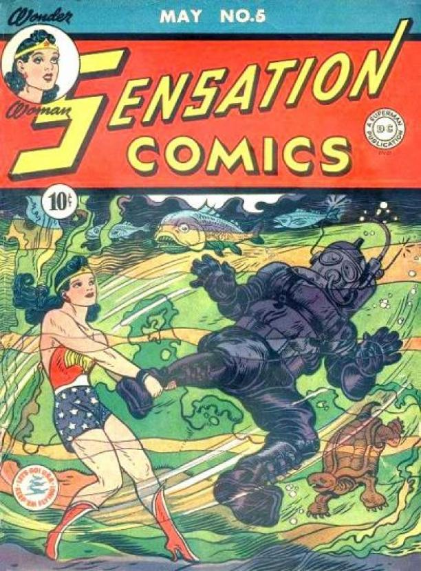 "Voorkant van een Wonder Woman comic book / stripboek van D.C. Magazines. Op de voorkant staat: ""Wonder Woman Sensation Comics May No. 5."""