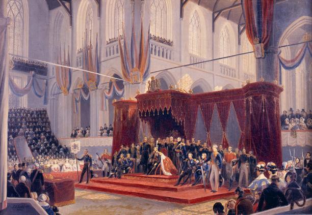 Schilderij van inhuldiging koning Willem II.