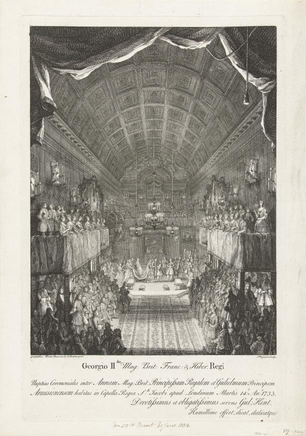 Afb. 3: Huwelijk van Willem IV met prinses Anna, J. Rigaud naar ontw. William Kent. Rijksmuseum, Amsterdam.