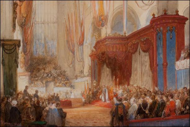 Schilderij van inhuldiging koning Willem III.