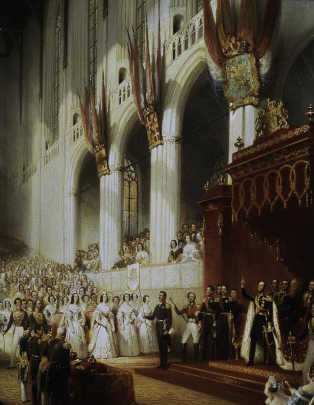 Afb. 5. Nicolaas Pieneman, jaren 1840, Inhuldiging van koning Willem II (detail). Paleis Het Loo, langdurig bruikleen Koninklijke Verzamelingen, Den Haag.