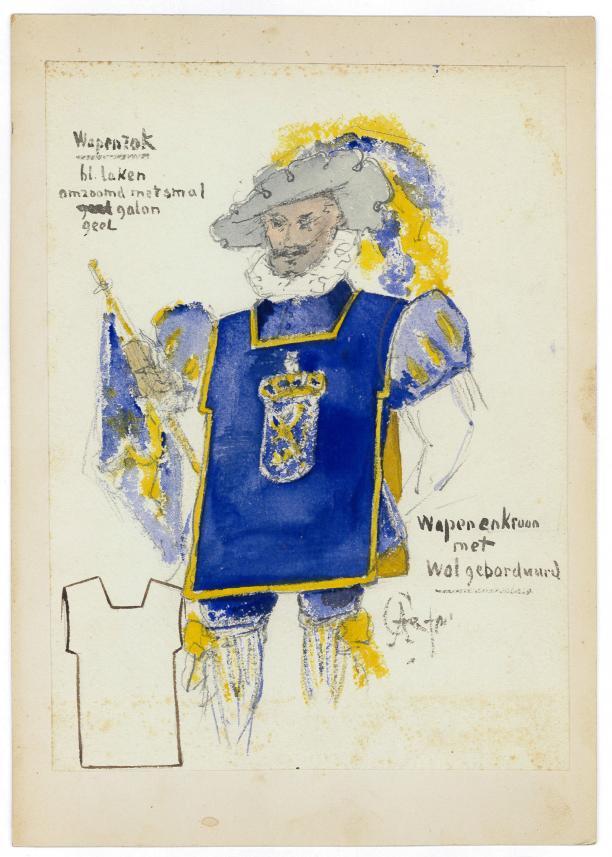 Ontwerp tekening, schets van heraut kostuum.