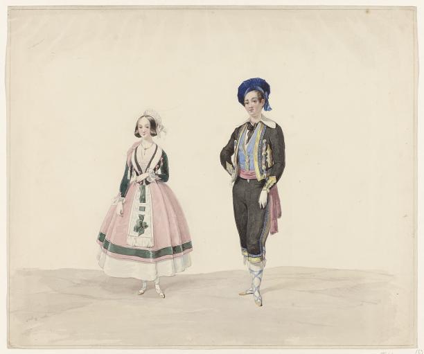 Afb. 5 Huib van Hove, man en vrouw in historisch kostuum, 1841, collectie Rijksmuseum.