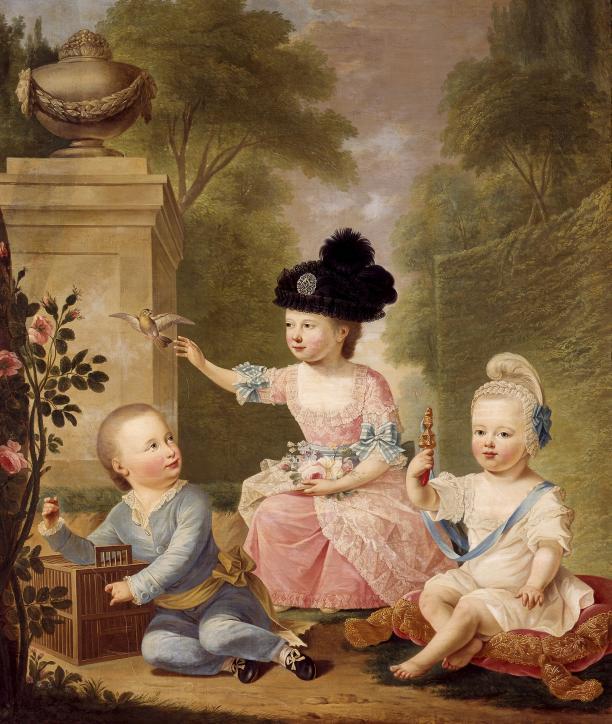 Guillaume de Spinny, Portret van de drie kinderen van stadhouder Willem V met in het midden prinses Louise, 1775, Koninklijke Verzamelingen Den Haag