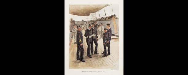 Afbeelding 5: J. Hoynck van Paperdracht, Koninklijke Nederlandsche Marine 1897, prent, 1900, (collectie Nationaal Militair Museum).