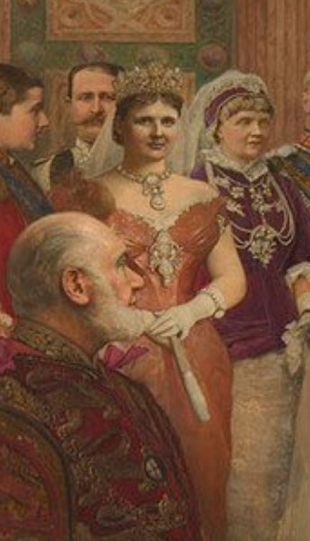 Detail van koningin Emma, Sir James Dromgole Linton, 1885. Royal Collections, UK. Modemuze, Trudie Rosa de Carvalho, Paleis Het Loo, huwelijk, huwelijks uitzet, rouw, rouwkleding, erfenis, koninklijke familie