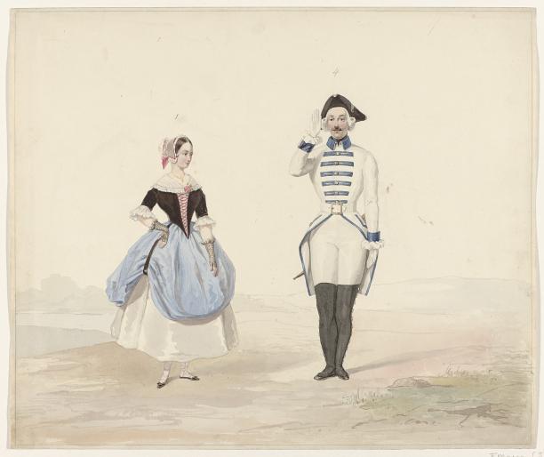 Afb. 6 Huib van Hove, man en vrouw in historisch kostuum, 1841, collectie Rijksmuseum.