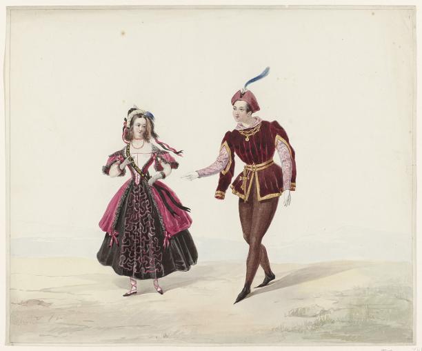 Afb. 7 Huib van Hove, man en vrouw in historisch kostuum, 1841, collectie Rijksmuseum.