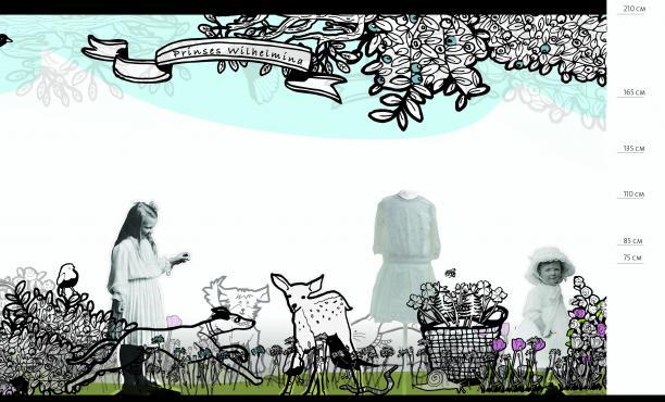 Afb. 7. Ontwerp van Elke Scheffers voor een lange zijde van de vitrine
