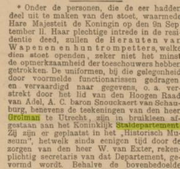 Krantenknipsel, Dagblad 30 december 1898.