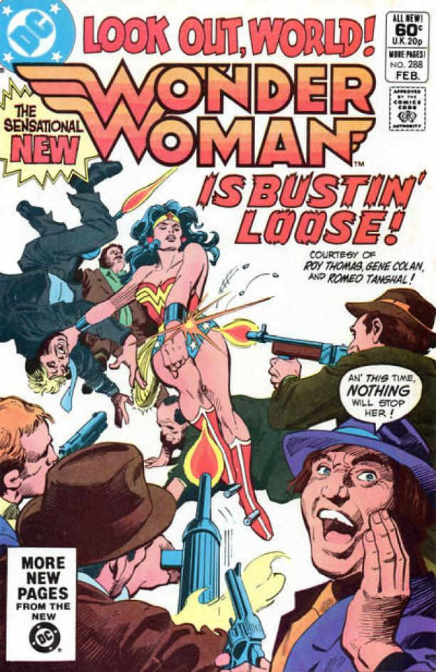 "Voorkant van een Wonder Woman comic book / stripboek van D.C. Magazines. Op de voorkant staat: ""Look out, world! Wonder Woman is bustin' loose!"""