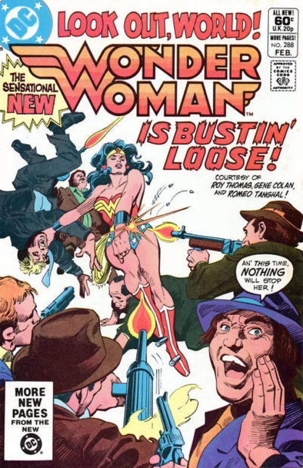 "Voorkant van een Wonder Woman comic book / stripboek van D.C. Magazines. Op de voorkant staat: ""Look out, world! Wonder Woman is bustin' loose!"""