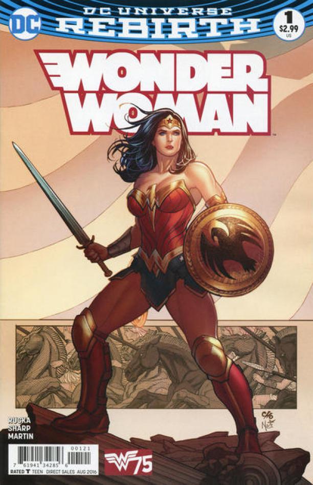 """Voorkant van een Wonder Woman comic book / stripboek van D.C. Magazines. Op de voorkant staat: """"DC Universe rebirth: Wonder Woman."""""""