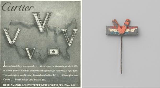 Links de 'Victory' broches van Cartier in een advertentie uit 1945. Rechts: anoniem, Victorie broche, 1945. Collectie Rijksmuseum (BK-2010-2-444)