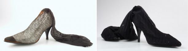Links: Jac Bergmans, ca. 1970. Rechts: Mart Visser, 1998-2002, beide Nederlands Leder en Schoenen Museum