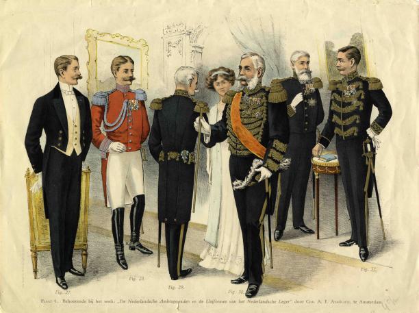 Afbeelding uit De Nederlandsche Ambtsgewaden en de Uniformen van het Nederlandsche Leger deel 1, Chr. A.F. Anröchte, Amsterdam, 1910.
