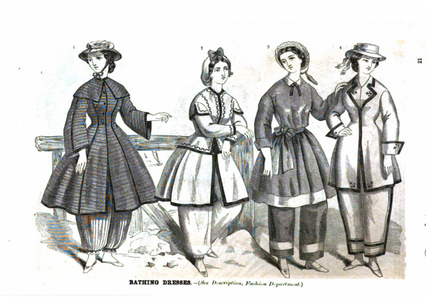 Resist! Modemuze Marit Eisses. Badkleding voor vrouwen. 'Bathing Dresses', Godey's Lady's Book, vol. 69 (1864), pp. 21