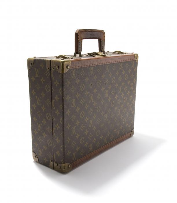 Bagage, koffer van leer met LV monogram op canvas, Louis Vuitton, Frankrijk, ca. 1920
