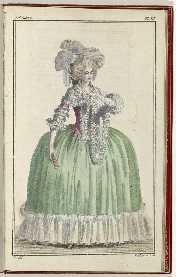 Modeprent uit de collectie van het Rijksmuseum (BI-1959-529-44). Cabinet des Modes ou les Modes Nouvelles, 1 Septembre 1786, pl. III.