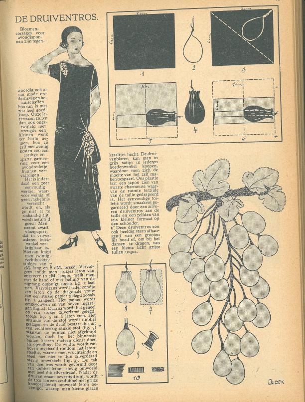 Afb. 5 Pagina uit 'Het Rijk der Vrouw' waarop wordt beschreven hoe zelf een corsage gemaakt kan worden, 1924.