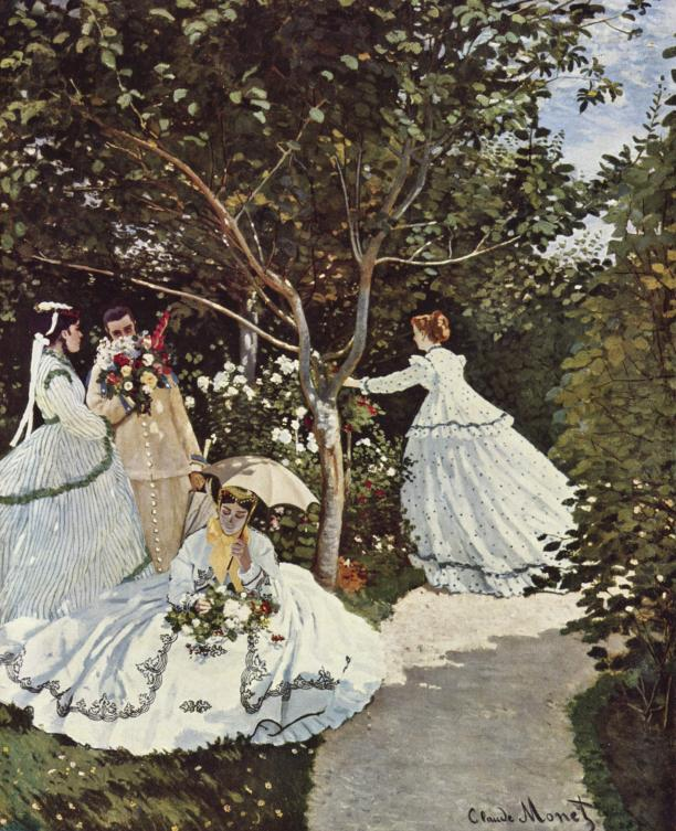 Claude Monet, Woman in a Garden, 1866, Musée d'Orsay, Bron: website Musée d'Orsay.; Modemuze, Americana, Los Angeles, LA, mode illustraties, mode illustrator, mode tekening, mode fotografie, schilderkunst, geschiedenis mode illustraties