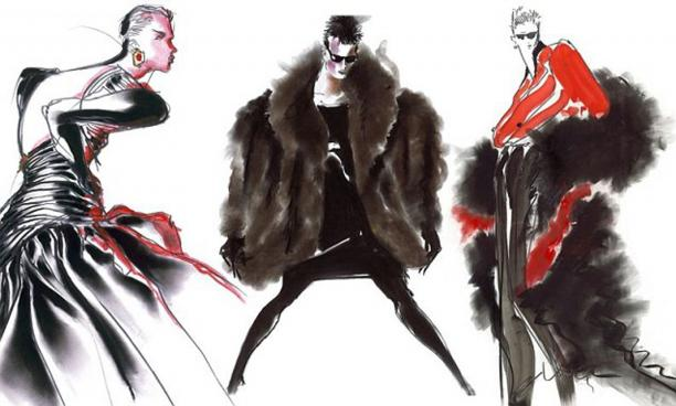 Tony Viramontes, Illustratie voor Yves Saint Laurent, Bron: website Tony Viramontes.; Modemuze, Americana, Los Angeles, LA, mode illustraties, mode illustrator, mode tekening, mode fotografie, schilderkunst, geschiedenis mode illustraties