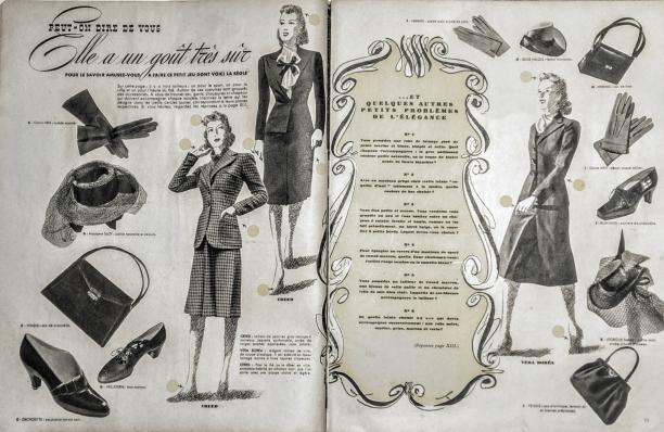 Blog Modemuze. Vintage en de stijl van vroeger. Afb. 3 Quiz uit Marie-Claire, 1940