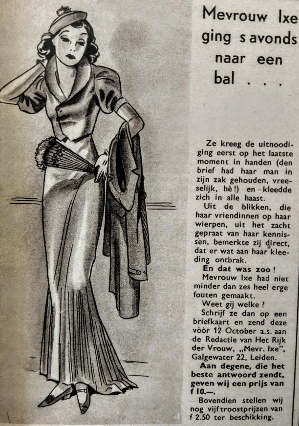 Blog Modemuze. Vintage en de stijl van vroeger. Afb 7 Prijsvraag uit 'Het Rijk der Vrouw', 1937