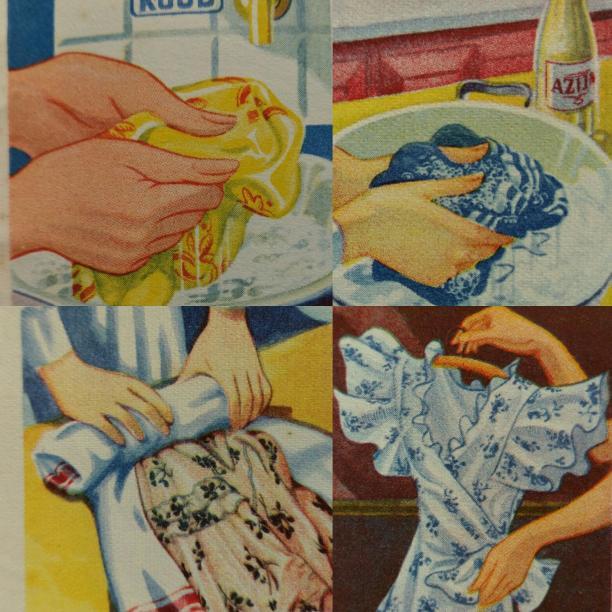 Blog Modemuze Birthe Weijkamp Hoe ga je om met vintage. Afb. 2  Illustraties uit een folder met wasinstructies, uitgegeven door 'Radion', ca. 1937, Voorzichtig wassen, azijn om te spoelen, uitdrukken in een handdoek, drogen