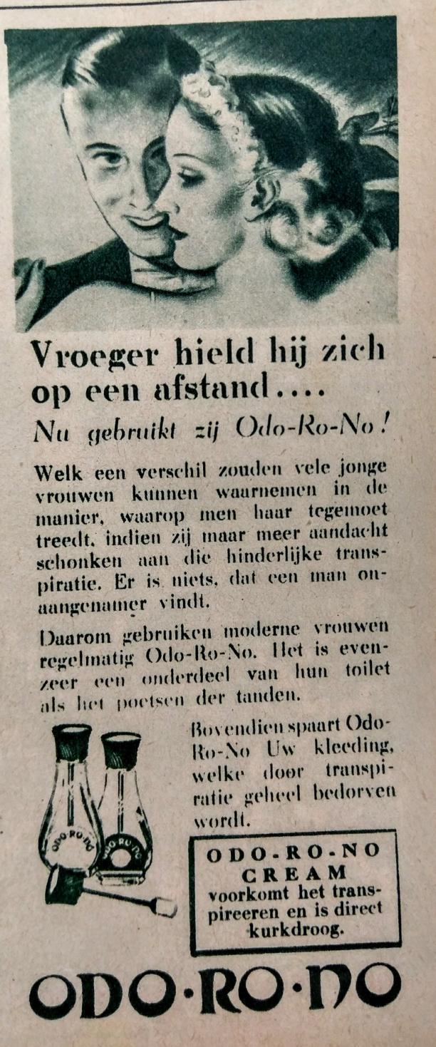 Blog Modemuze Birthe Weijkamp Hoe ga je om met vintage. Afb. 3 Advertenties voor deodorant uit de jaren 30 geven wel aan dat veel mensen dit nog niet gebruikten. Advertentie voor Odo-ro-no in 'Het Rijk de Vrouw'