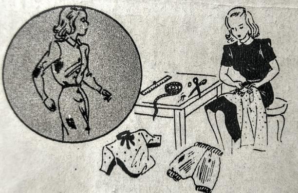 Blog Modemuze Birthe Weijkamp Hoe ga je om met vintage. Afb. 5 Illustratie uit Beyer Tips en Wenken voor Winterkleeding die aangeeft dat beter versteld kan worden voor een gat ontstaat, ca. 1940-45