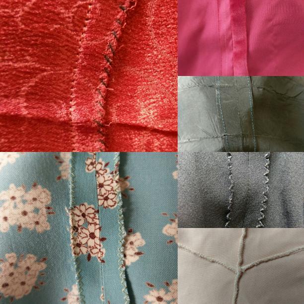 Blog Modemuze door Birthe Weijkamp. Hoe herken je vintage. Afb. 7 Verschillende afwerkingen van naden met de klok mee met de hand, niet afgewerkt, omgenaaid, met een kartelschaar, gelockt, met een zigzagsteek