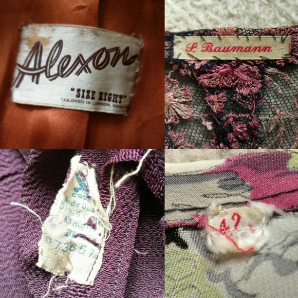 Blog Modemuze door Birthe Weijkamp. Vintage. Afb. 3 Afb. 3 Verschillende labels Alexon in een Britse jaren 40 jas, een naam van de draagster, een Amerikaans Recovery Act-label, een maatetiket
